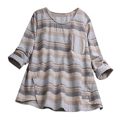 Fainosmny Womens Tops Loose Shirts Plus Size Blouse Summer Tunic ...