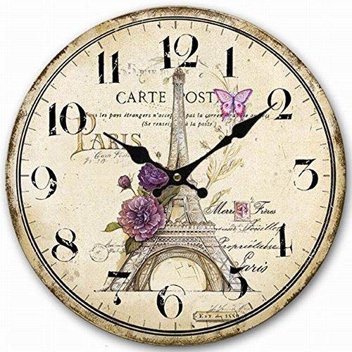 Carpenter 12 inch Paris Eiffel Tower wall clock Vintage France Paris Non ticking clock (Paris Eiffel Tower)