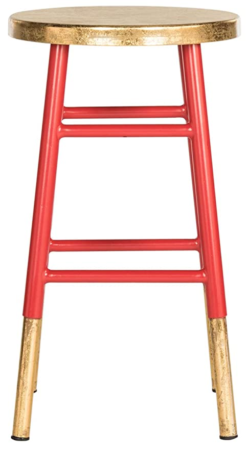 Groovy Safavieh Home Collection Emery Red And Dipped Gold Leaf 24 Inch Counter Stool Creativecarmelina Interior Chair Design Creativecarmelinacom