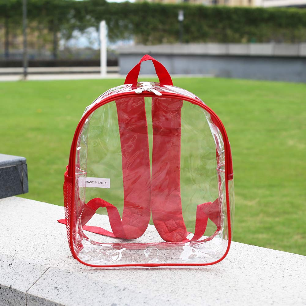 Stadium Approved Clear Backpack Heavy Duty/Cold-Resistant Transparent Backpack for Concert, Security Travel &Stadium(Red) by Magicbags (Image #3)