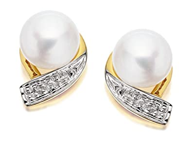 F.Hinds Womens Jewellery 9Ct Yellow Gold Diamond And Freshwater Pearl Earrings aMMm0i