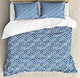 Navy Blue Duvet Cover Set Queen Size by Ambesonne, Mosaic Pattern with Geometrical Design Elements Squares Triangles Flowers, Decorative 3 Piece Bedding Set with 2 Pillow Shams, Blue Beige White
