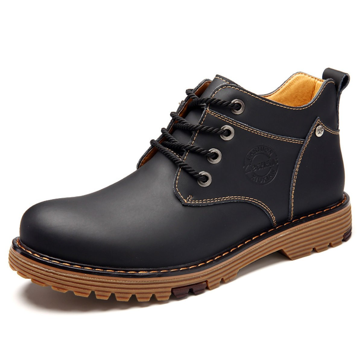 Herbst Und Winter Hoch Koreanische Zu Helfen Männer Stiefel Koreanische Hoch Version Tooling Stiefel Martin Stiefel Herren Stiefel schwarz 8b78b1