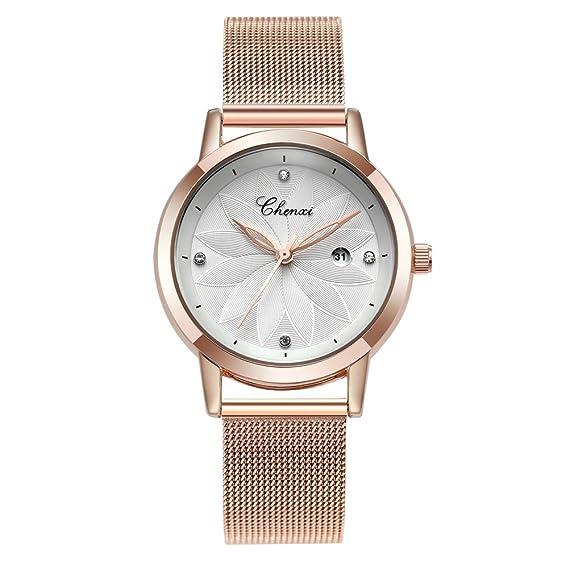 Relojes para Mujeres Marca de Lujo Deportes Analógicos Reloj de Cuarzo Acero Inoxidable Mesh Negocios Mujer Dress Slim Casual Reloje de Pulsera: Amazon.es: ...