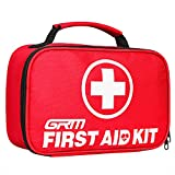 First Aid Kit (130 Pieces), GRM FDA Approved Compact Emergency Survival Kit with Waterproof Bag for Home, School, Office, Car, Travel, Sports, Hiking