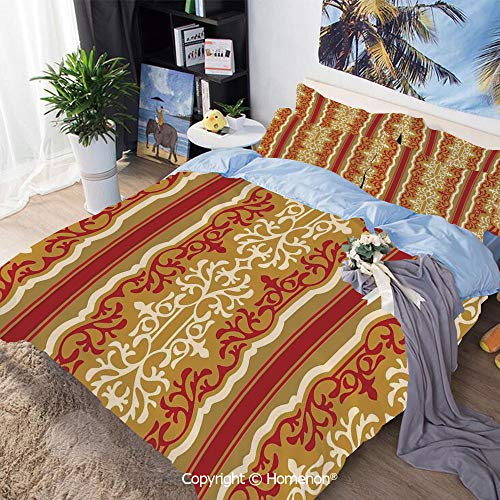 Homenon 3 Piece Bedding Set,Middle Eastern Swirl Floral Ornament Branches Motif Oriental Artwork,Queen Size,Hypoallergenic,Cool Breathable,Ruby Light Coffee Cream