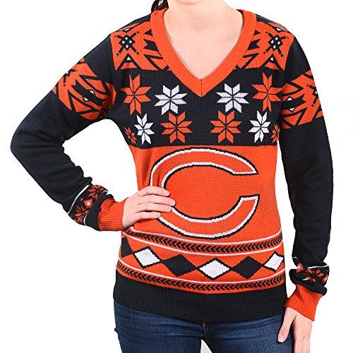 NFL Women's V-Neck Sweater, Chicago Bears, Small (Chicago Bears Sweater Christmas)