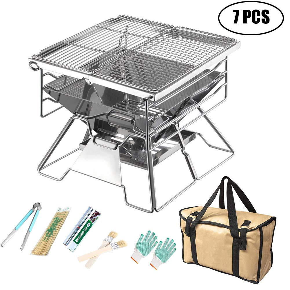 7PCS Large Charcoal Barbecue Grill,Portable Foldable for Camping Outdoor Garden Grill BBQ Utensil 10 Pieces,for 35 People,7PCS