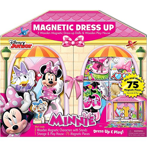Bendon 3 Wooden Magnetic Dress-Up Dolls & Wooden Play House (75 Pieces) - Disney Junior Minnie (Magnetic Playhouse)