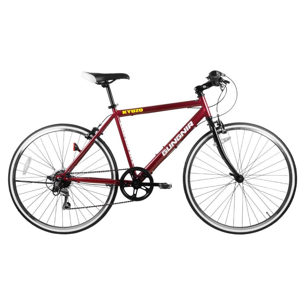 KYUZO クロスバイク自転車 26インチ 外装6段変速付き KZ-107 GUNGNIR  ワインレッド B07BT7NHZC