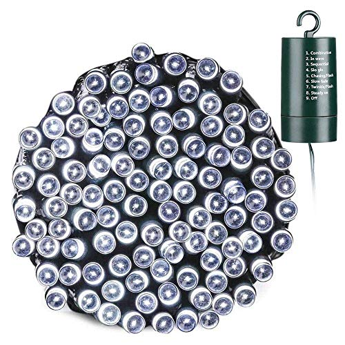 Toodour Battery String Lights,68.9ft 200 LED String Lights with 8 Twinkle Modes, Timer, Waterproof Battery Operated String Lights for Home, Garden, Party, Holiday Decorations (White)