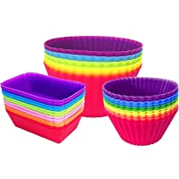 30-Pk Ielek Silicone Cupcake Liners Baking Cups Reusable Muffin