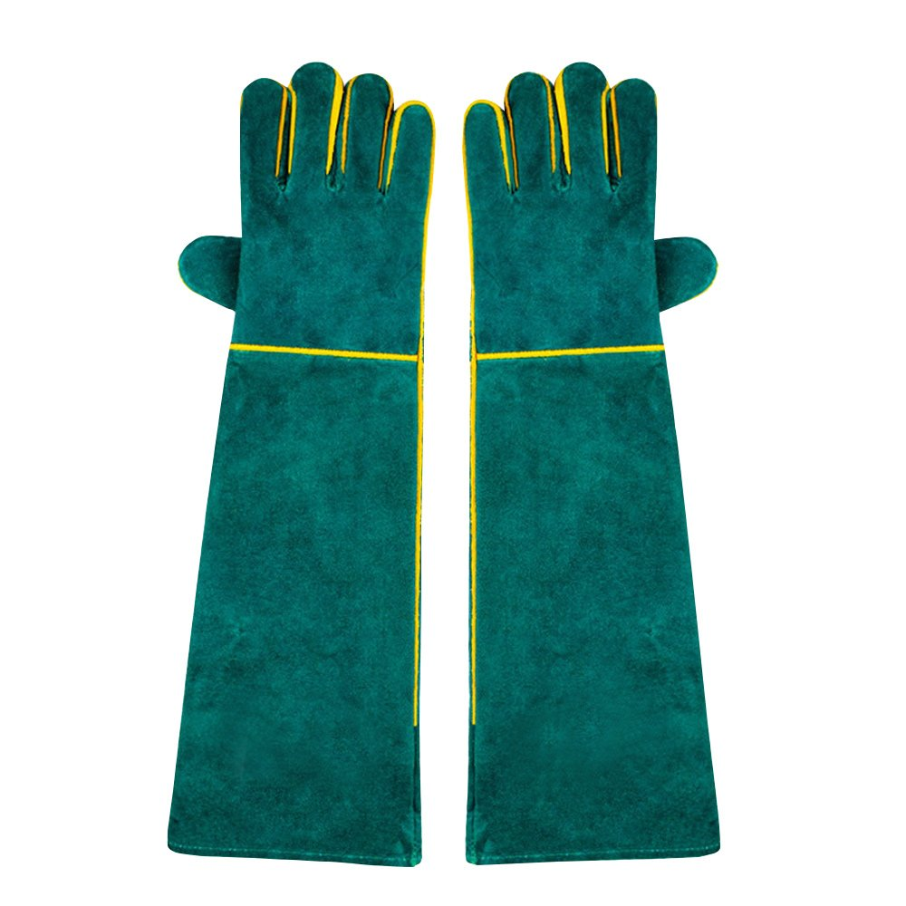 NUZAMAS 1 Pair of Welding Gloves, 58cm/ 23-Inch Length Shoulder Split Cowhide, Foam Lined, EXTAR LONG For Mig, Tig Welders, BBQ, Gardening, Camping, Stove, Fireplace