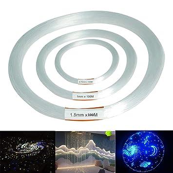 RISHIL WORLD 100m PMMA Clear Plastic Fiber Optic Cable End Grow Led Light Decor 0.75/1 / 1.5mm Single Item.