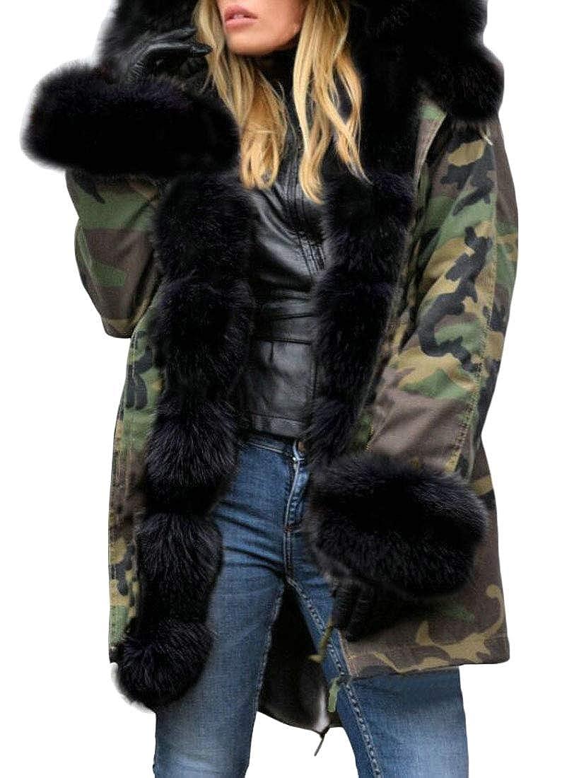 1 jxfd Women's Hood Faux Fur Lined Fuzzy Winter Hooded Thicken Outwear