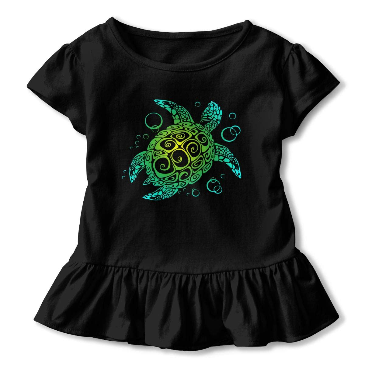 CZnuen Sea Turtle Galaxy Baby Girls Basic Short Puff Sleeve Round Neck Ruffle T-Shirt