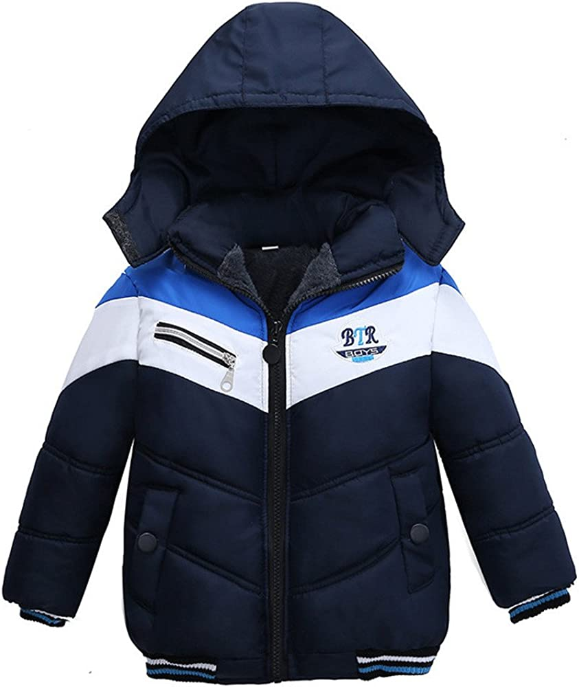 TLoowy Kids Toddler Baby Boy Fashion Winter Coat Warm Hooded Jacket Outerwear Fleece Lined Clothes Outfits