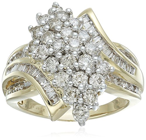 10K Yellow Gold Diamond Cluster bypass Ring (2cttw), Size 7 by Amazon Collection