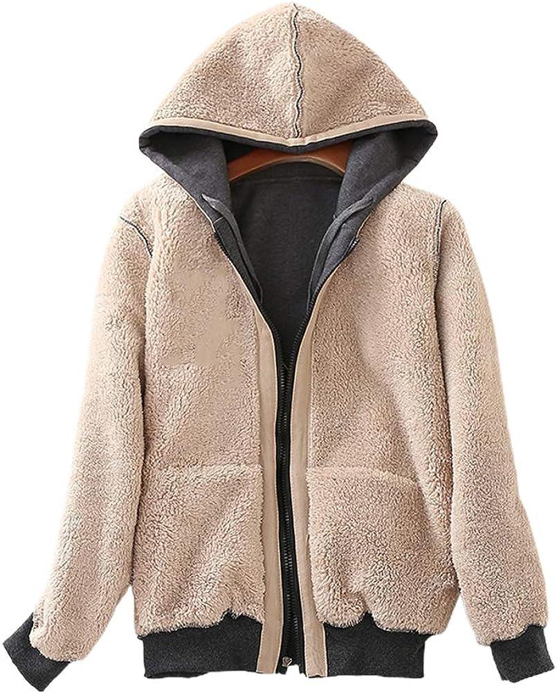IDEALSANXUN Womens Sherpa Lined Fleece Warm Winter Zip Up Hooded Sweatshirt Jacket Coat