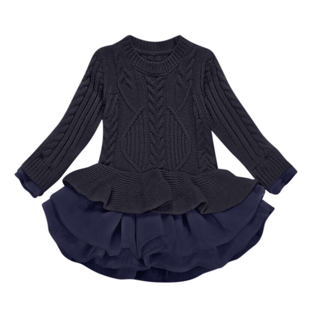 Matoen Baby Girls Knitted Sweater Winter Pullovers Crochet Tutu Dress Tops Clothes