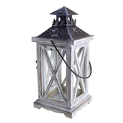Strong-Willed Rustic Wooden Retro Lantern Hanging Lamp Wood Decoration Candle Holder Table Vintage Online Discount Candles & Holders Home Decor