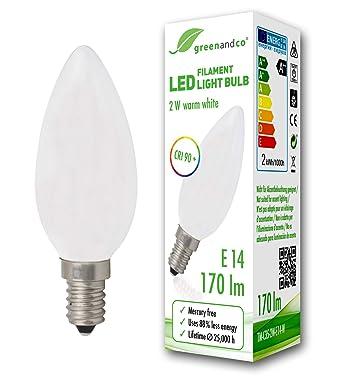 Bombilla de filamento LED greenandco® IRC 90+ E14 opaca 2W (corresponde a 18W