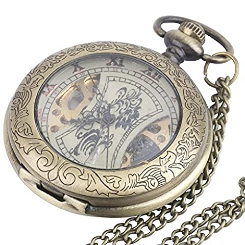 81stgeneration Women's Brass Vintage Style Mechanical Pocket Watch Chain Pendant Necklace, 78 cm