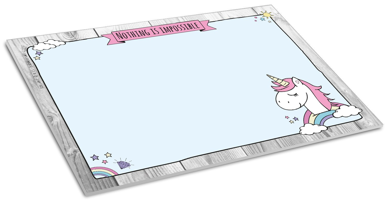 ideal f/ür M/ädchen DIN A3 mit Einhorn-Motiv aus Papier f/ür Kinder und Erwachsene mit gro/ßem Notizfeld 30 x 42 cm Schreibtischunterlage UNICORN II 25 Blatt Schreibunterlage zum Abrei/ßen