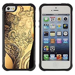 Fuerte Suave TPU GEL Caso Carcasa de Protección Funda para Apple Iphone 5 / 5S / Business Style Tattoo Ink Body Art Goddess Ancient Arm