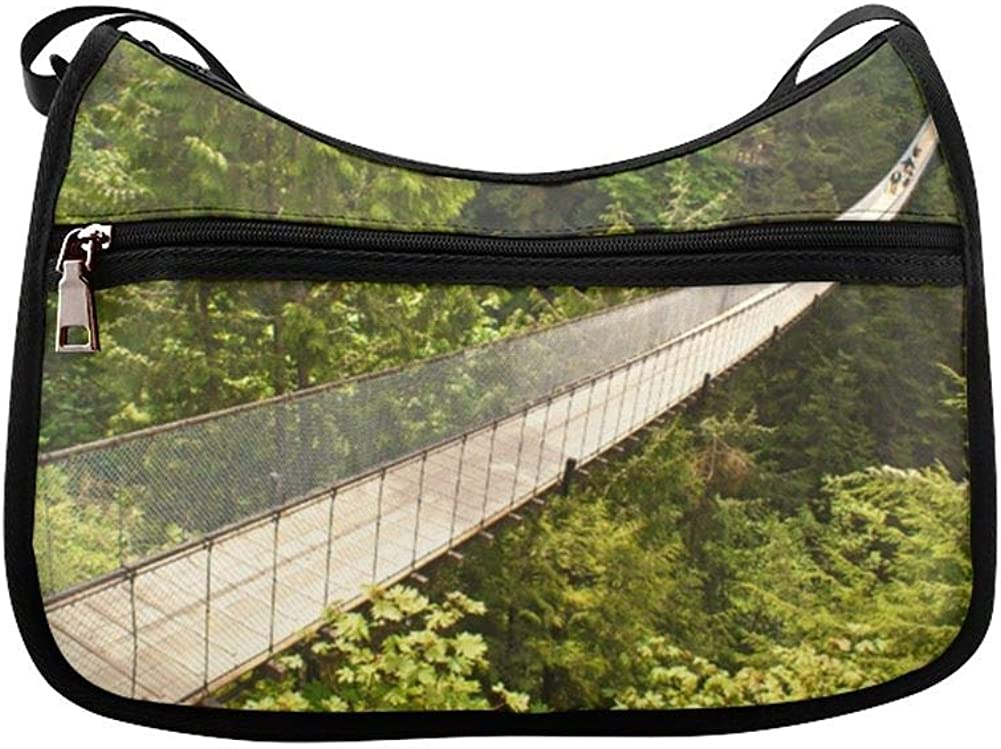 Areial View Of Suspension Bridge Messenger Bag Crossbody Bag Large Durable Shoulder School Or Business Bag Oxford Fabric For Mens Womens