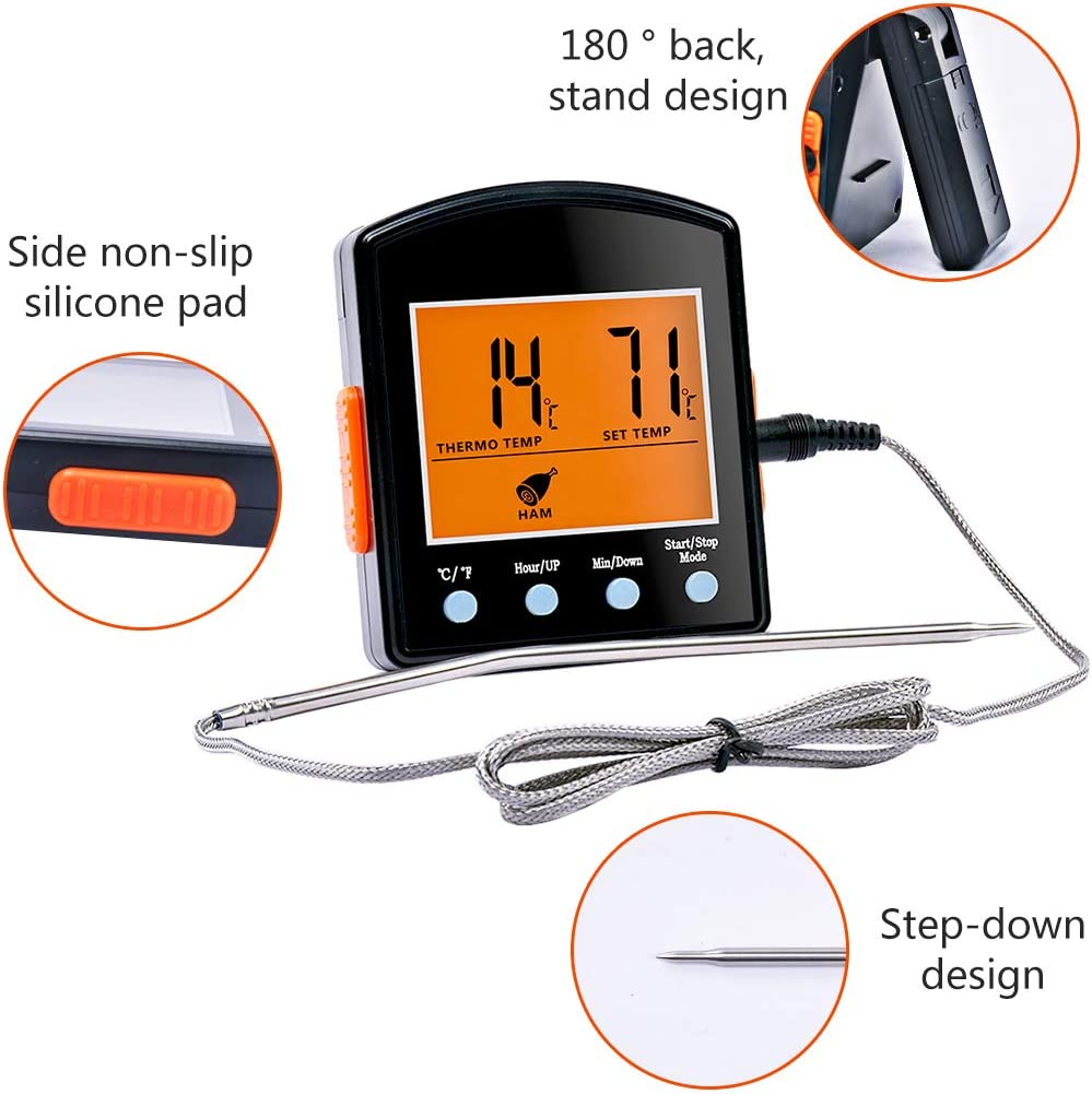 Hotloop Digital Meat Thermometer with Timer Mode Cooking Oven Thermometer with Probe Heat Resistant up to 572/°F//300/°C