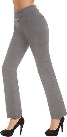 Bamans Pantalones De Vestir Para Mujer Con Botas Para Oficina Negocios Casual Yoga Trabajo Con Bolsillo Para Llaves Pierna Recta Gris Small Amazon Es Ropa Y Accesorios