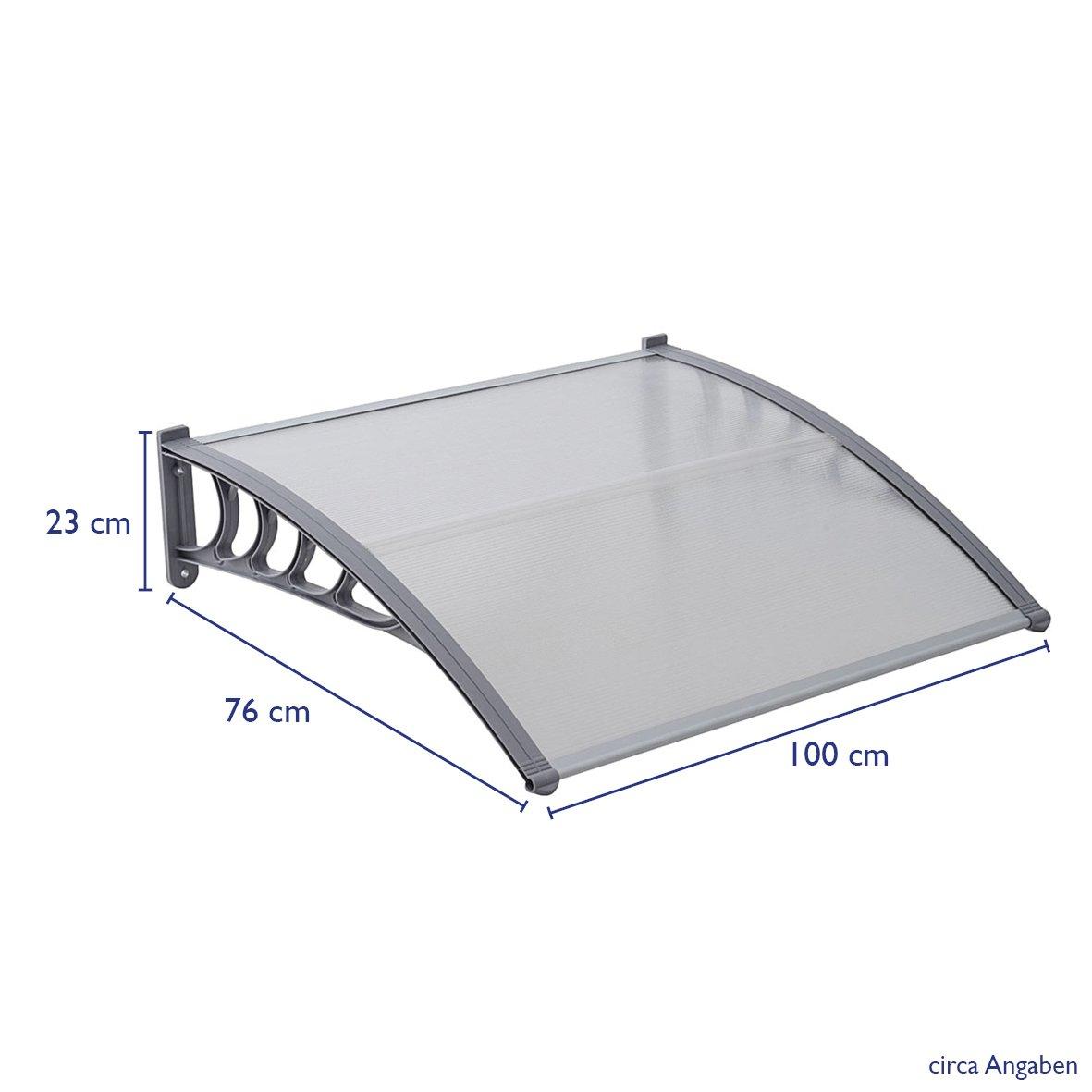 200 x 80 cm SVITA Vordach T/ür-Dach /Überdachung transparent Schutz vor Niederschlag und Witterung