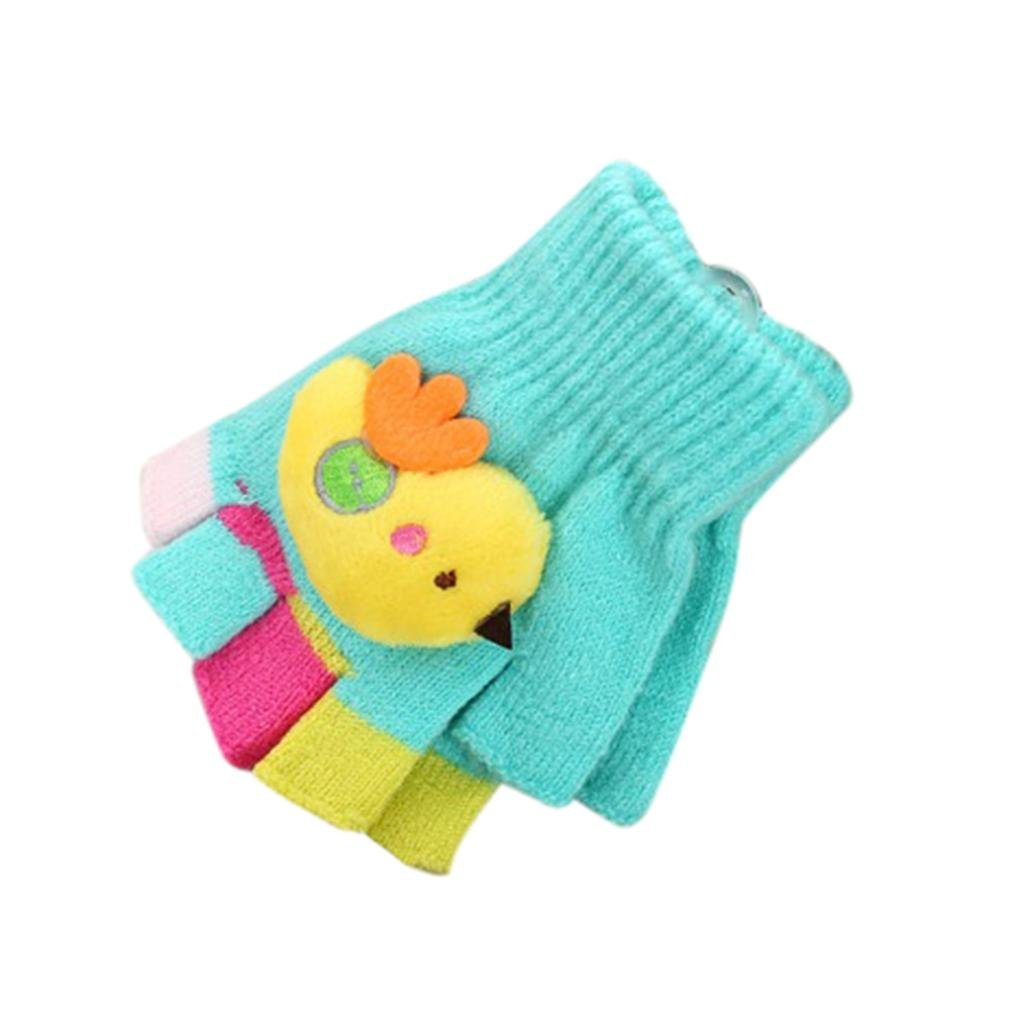 Minshao Toddler Baby Girls Boys Cute Thicken Stitching Winter Warm Gloves For 2-7 Years old