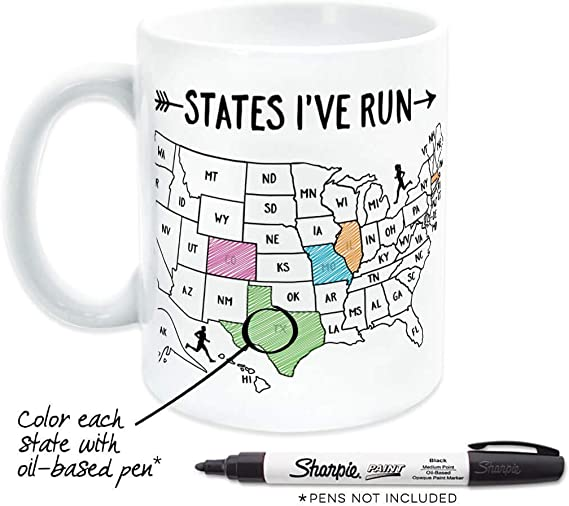 Amazon.com: Running Ceramic Coffee Mug | States I've Run Outline: Kitchen &  Dining