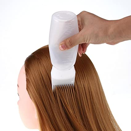 toamen pincel aplicador botella cálida de colorante de pelo salón de tinte Coloración del cabello botellas flexibles blanco