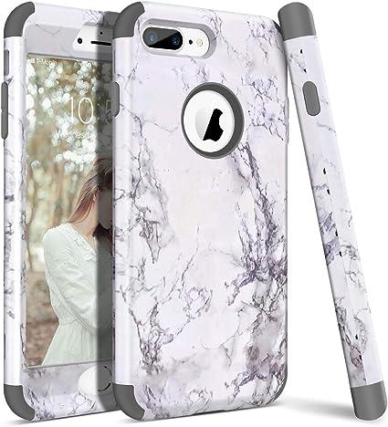 WE LOVE CASE iPhone 7 Plus Cover Marmo 360-Grad all Inclusive Custodia Grigio Cassa Duro del PC di Plastica e Silicone Protezione Shock Proof Anti ...
