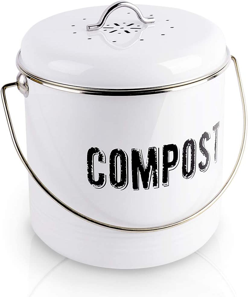 Kitchen Compost Bin with 7 Charcoal Filters and 50 Recycled Trash Bags, 1.3 Gallon Compost Bucket, Rustic Farmhouse Composting Container for Kitchen Counter: Kitchen & Dining