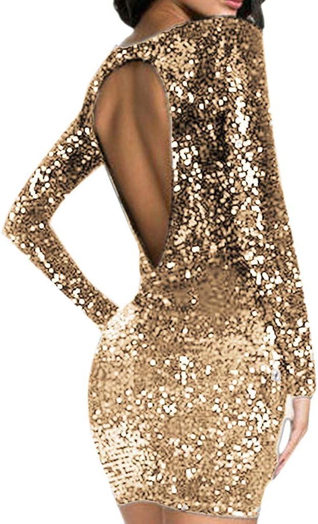 Longra Damen Kurzarm Abendkleider Glitzer Cocktailkleid Partykleider Rundhals Ruckenfreies Festliches Kleid Mit Pailletten Kleider Damen Elegante Glanzend Etuikleid Kurz Minikleid Kleider Bekleidung