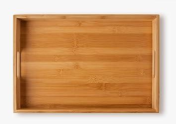 Bandeja de de bambú , para servir comidas (40 x 28 x 4,5 cm, 580 g): Amazon.es: Hogar