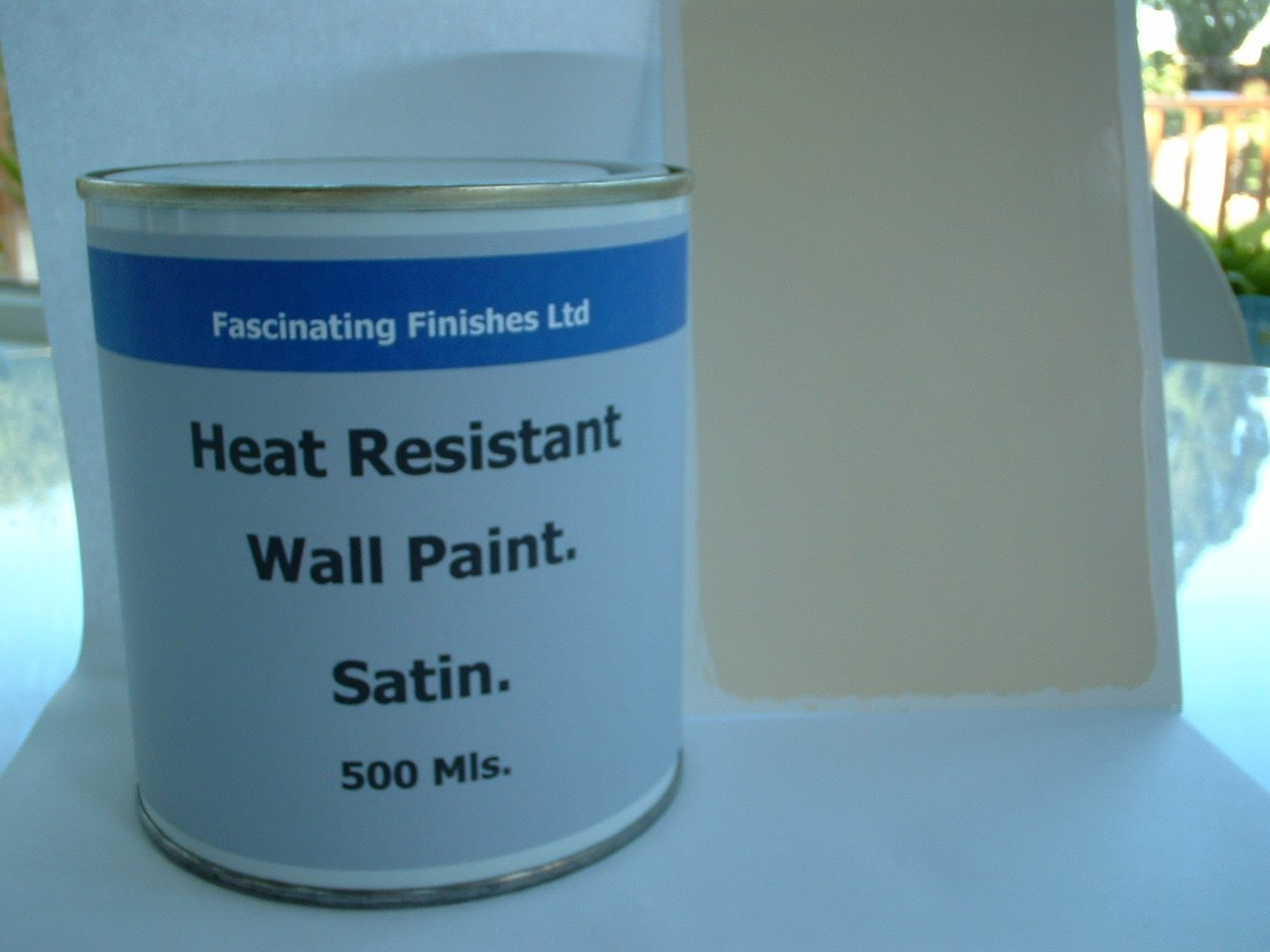 1 x 500ml satin cream heat resistant wall paint wood burner stove