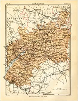 Map Of Uk Gloucester.Gloucester 1898 Antique Engraved Colour Map Gloucestershire