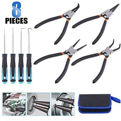 Glarks 4Pcs 7-Inch Internal/External Circlip Plier Snap Ring Pliers with 4Pcs Precision Pick and Hook Set for Ring Remover Retaining and Remove Hoses, Gaskets