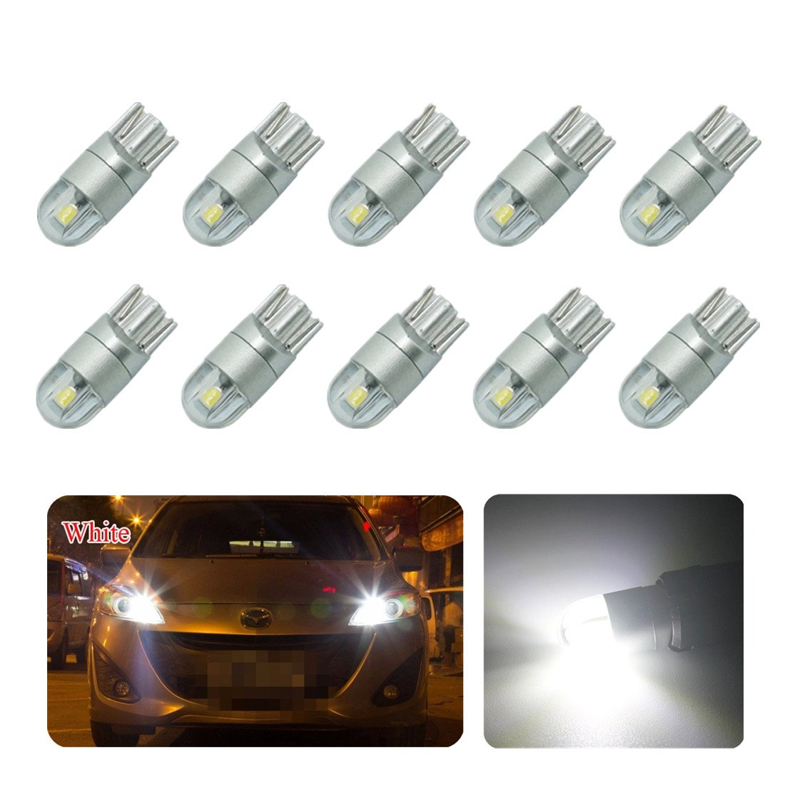 FEZZ Car LED Light Bulbs T10 W5W 194 168 3030 2SMD Canbus Error Free for Side marker Indicator License plate Light White (Pack of 10) FZ0028