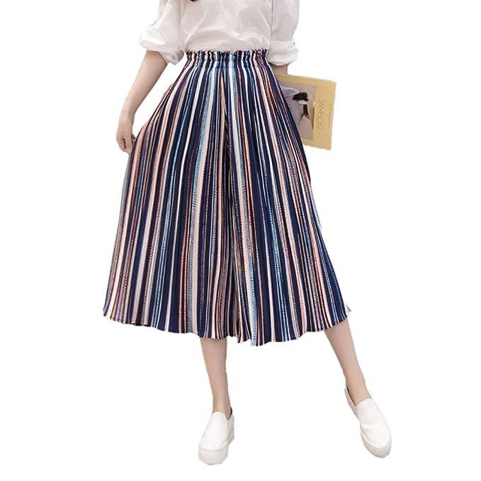 Falda Pantalon Mujer 3/4 Pantalones Simple Estilo Elegante Pantalones Verano Fashion Niña Flecos Elastische Taille Chiffon Pantalones De Playa Pantalones ...