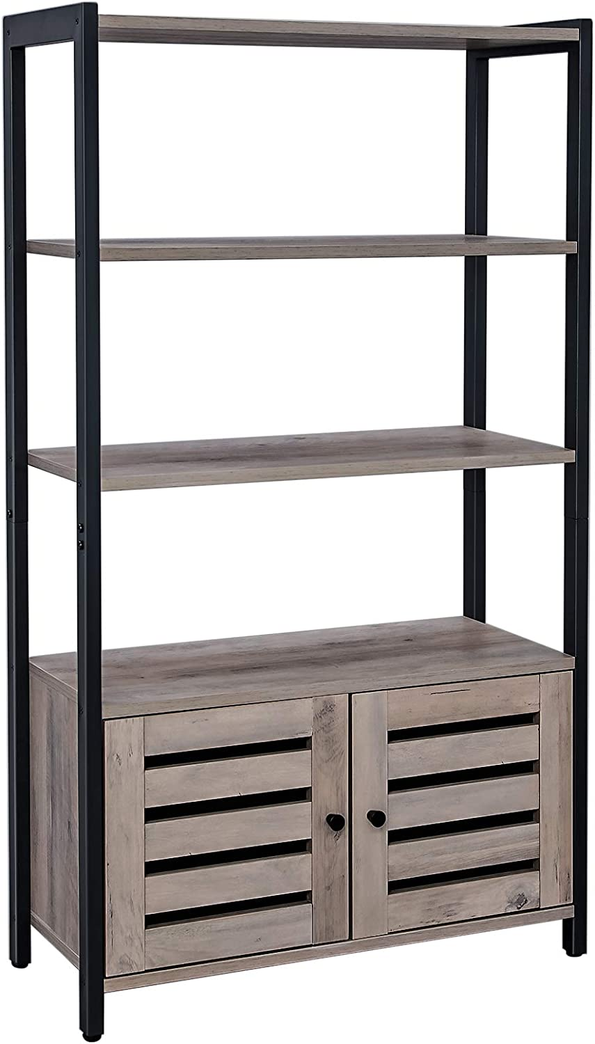 VASAGLE Bookcase, Floor-Standing Storage Cabinet and Cupboard with 2 Louvred Doors and 3 Shelves, Bookshelf in Home Office, Living Room, Multifunctional, Industrial, Greige and Black LSC75MB