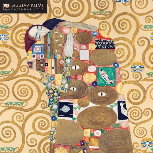 Gustav Klimt 2018 12 x 12 Inch Monthly Square Wall Calendar with Glitter Flocked Cover by Flame Tree, Austrian Symbolist Painter Art Artist