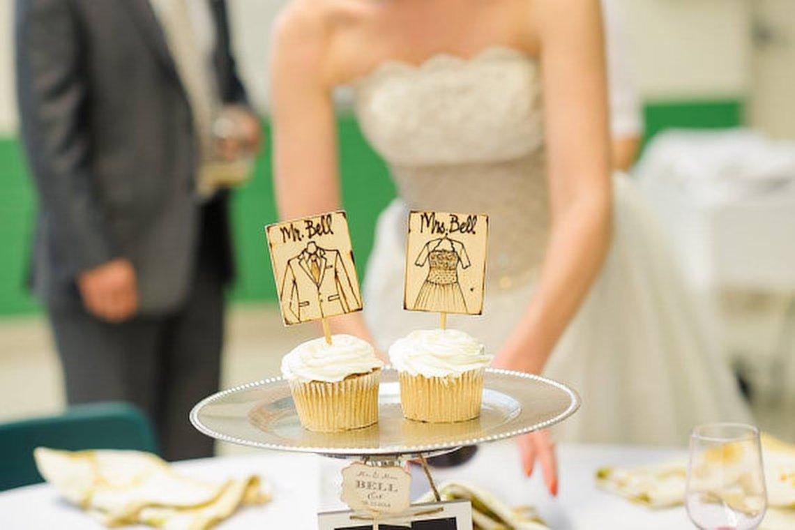 Amazon.com: Wedding Cake Toppers with YOUR Wedding Dress and His ...
