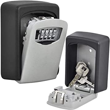 Security Key Boxes for Outside of House BYBOO Outdoor Key Safe Lock Box Waterproof Key Storage Box Wall Mount Key Lock Safe Black ShenZhenShiBoSheng Trade Co .Ld 10 Digital Push Button Combination Lock Box for Keys