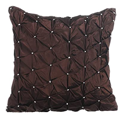 Brown Throw Pillows Cover, Textured Pintucks Solid Color Silver Sparkly Beaded Pillow Cover, 20x20 Inch Pillow Covers, Solid Contemporary Pillow ...
